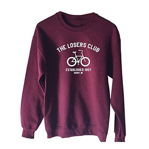 Q.KIM Damen Herren Sweatshirt Pullover Lange Ärmel Tops Sportsweatshirt S-3XL-The losers club,Wein rot-S