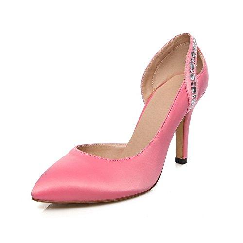 VogueZone009 Femme à Talon Haut Mosaïque Tire Matière Souple Pointu Chaussures Légeres Rose