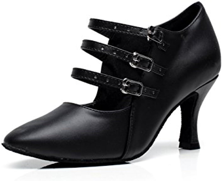 JSHOE Womens Closed Toe Tacón Alto Cuero De PU Brillo Salsa Tango Salón Baile Latino Zapatos,B-heeled7.5cm-UK6.5...