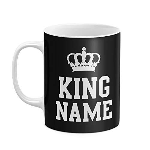Mug à Thé ou Café Céramique Résistante à la Chaleur 325 ml, Mariage King With Your Name Personalised Custom Name Initial Text King Queen, Personnalisée, Customisable, Initiale Prénom Et Nom De Famille