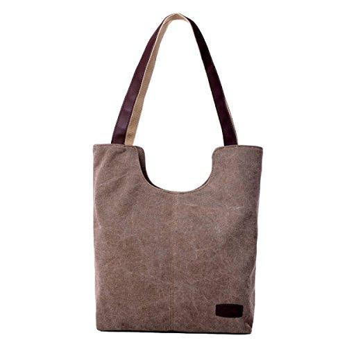 Einfache Segeltuch Einkaufstasche Kleine Frische Kleine Quadratische Tasche Retro Einfache Tasche Brown
