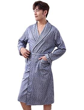 Pijama de caballero/Sección larga de algodón Vestido de noche Primavera y otoño Ropa de casa/Albornoz cómodo y...