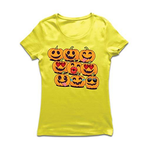 (lepni.me Frauen T-Shirt Kürbis Emoji Lustiges Halloween-Party-Kostüm (Large Gelb Mehrfarben))
