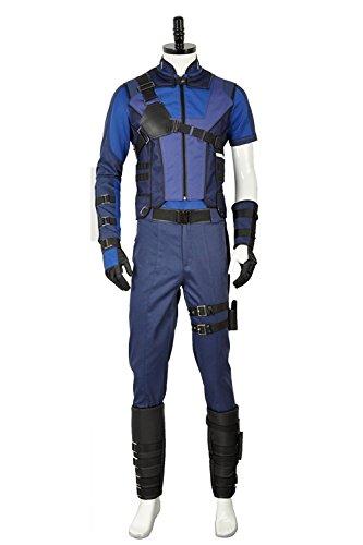 e Captain America Clint Barton Cosplay Kostüm Full Set, Collegejacke, Schwarz (Captain America-mann-kostüm)