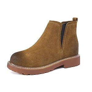 Top Shishang Herbst und Winter Damen Mattes Leder mit flachen Martin Stiefel Chelsea Stiefel und Stiefeletten westlichen Stiefeletten