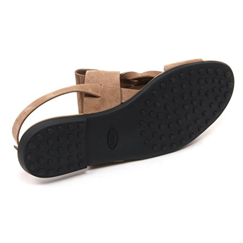 B7640 sandalo basso donna TOD'S scarpa beige scuro frangia origami shoe woman Beige scuro