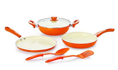NIRLON New Reinforced 4 Layer Ceramic Coating Non-Stick Induction Friendly 6 pieces Gift Combo Cooking Pans & Pots Set Cook and Serve (Aluminium, Stainless Steel, Bakelite, Glass) Beige & Orange Colour Brown/Orange Colour May Vary