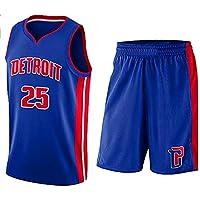 Detroit Pistons Derrick Rose # 25 Shorts de Jersey para niños, jóvenes, Unisex, Derrick Rose No.25 Jersey, Conjunto clásico sin Mangas, Jersey de Baloncesto con Traje de Malla para Mujer (3XS,A)