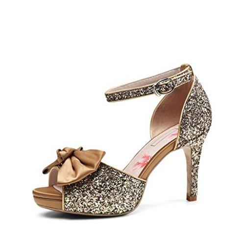 W&LM Signorina Tacchi alti sandali Ultra Tacchi alti Bocca di pesce sandali Piattaforma impermeabile Cravatta Ok Femmina sandali golden
