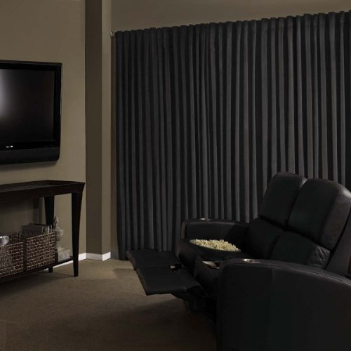 Absolute Zero Velvet Blackout Home Theater Curtain Panel, 84-Inch, Black