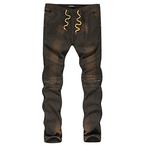 Wash Designer Jeans (Yogogo 1 Cent Artikel Herren Denim Designer Jeans Vintage Wash Hip Hop Chino Hose Cargo Jeans Destroyed Used Look Jeanshosen Jogging Pants Designer Chinohose Regular Slim Fit Sporthose Freizeithose)