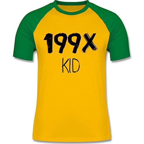 Statement Shirts - 199X KID - zweifarbiges Baseballshirt für Männer Gelb/Grün