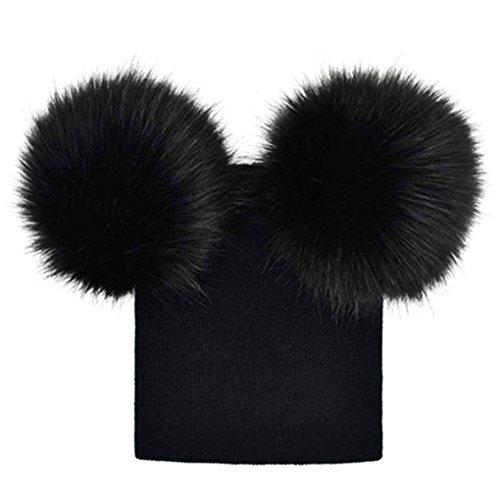 Bobury-Bb-Filles-Garons-Double-Pompon-Chapeau-Crochet-Tricot-Hiver-Chaud-Chapeau-Bonnet-Beanie-Bonnet