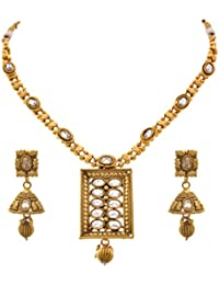 JFL - Traditional Ethnic One Gram Gold Plated Polk Diamond Designer Necklace Set With Earring For Women & Girls