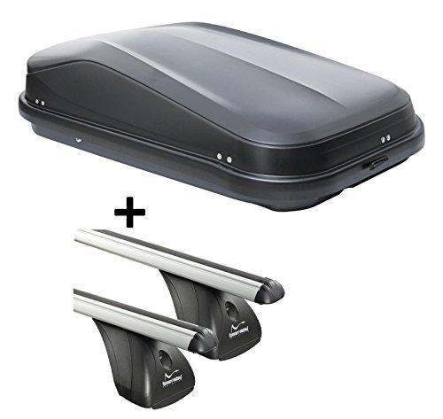 0 320Ltr schwarz glänzend abschließbar + Aluminium Dachträger Aurilis Original für Mazda 3 I (4-5Türer) 2004-2009 ()