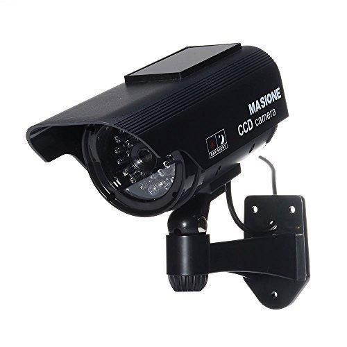 Masione-Solarpanel-Dummy-Kamera-berwachungskamera-LED-Licht-Fake-CCD-Sicherheitkamera-Attrappe-Camera