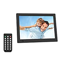 Digital Photo Frame, LESHP 12 inch Widescreen Digital Photo & HD Video (1080p) Frame Support Calendar/Clock Function/ automatic sleep/MP3/Photo/Video Player with Remote Control