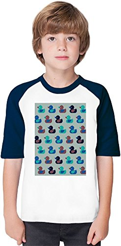 Cute Little Ducks Soft Material Baseball Kids T-Shirt by Benito Clothing - 100% Organic, Hypoallergenic Cotton- Casual & Sports Wear - Unisex for Boys and Girls 12-14 years (Duck Cotton 100% Material)