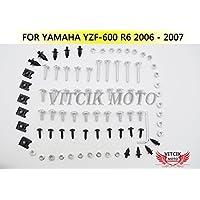 VITCIK Kit Completo de Tornillos y Pernos de Carenado para Yamaha YZF600 R6 2006 2007 YZF-600 YZF 600 R6 06 07 Clips de Sujeción en Aluminio CNC de La Motocicleta (Plata)