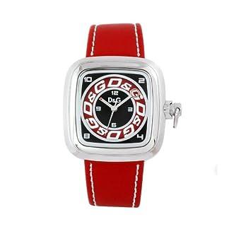 D&G DW0184 – Reloj de cuarzo analógico para hombre, acero inoxidable, correa roja, multicolor