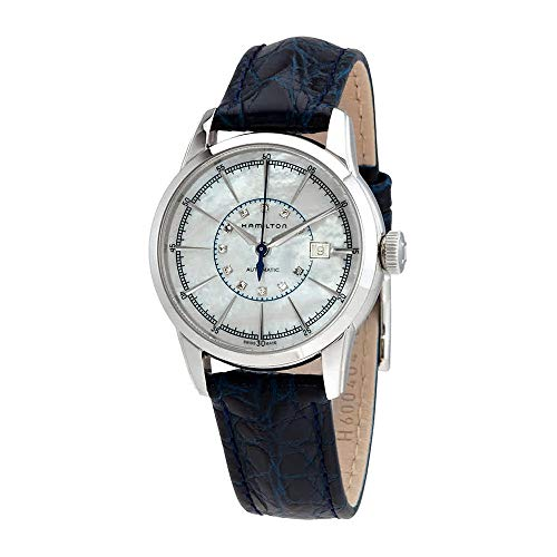 Hamilton Railroad White Mother Of Pearl Dial Blue Leather Ladies Watch H40405691