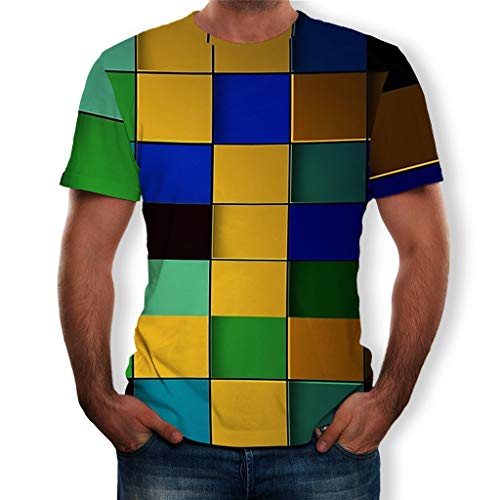 Wascoo Herren T-Shirts Lustige 3D Print Grafikmuster Rundhals Kurzarm Henley Tops Tees(Gelb,EU Size 2XL = Tag 3XL) - Zurück Print Tee