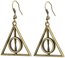 El Regalo's Harry Potter Luna Deathly Hallows Triangle Earrings | Harry Potter Movie Merchandise/Accessories for Girls