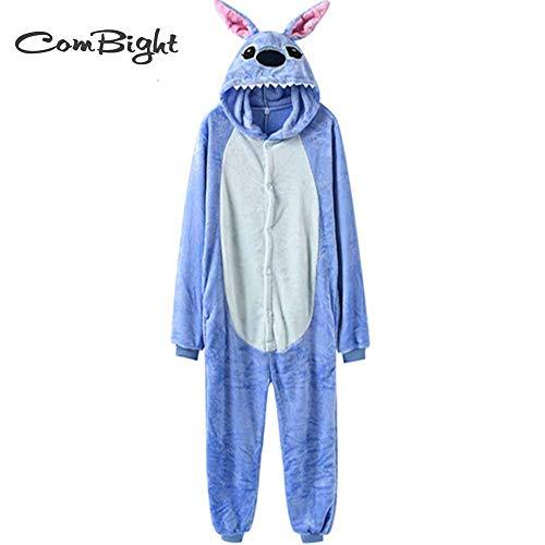 Stich Onesies Mit Hausschuhen Kigurumi Unisex Erwachsene Pyjamas Anzug Overall Halloween Karneval Party Animal Outfit (Blue Stitch Onesie, 150CM-160CM (59