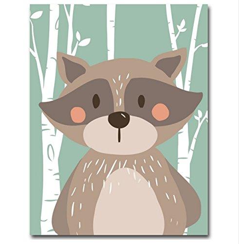 Raybre Art Kunst Abstrakt Cartoon Tier Kaninchen Bär Fuchs Minimalistischen Wandkunst Malerei Kindergarten Dekorative Bild Drucken Poster Moderne Home Kinder Kinderzimmer Dekoration Kein Rahmen
