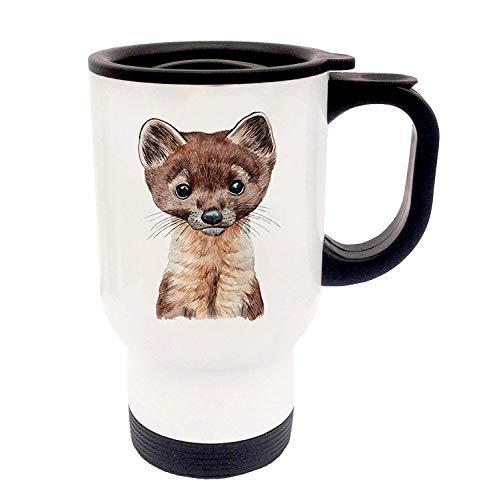 PEP Tasse Emaille Becher oder Thermobecher Kaffeebecher mit Marder Kaffeebecher Marder-Motiv Geschenk pb015 - ausgewähltes Produkt: *Thermobecher