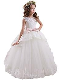 KekeHouse®Bambina Fiore Abiti Per sposa senza maniche vestito dalla  principessa applique pizzo Kid Comunione Dress fusciacca Arco abito da… be188a78074