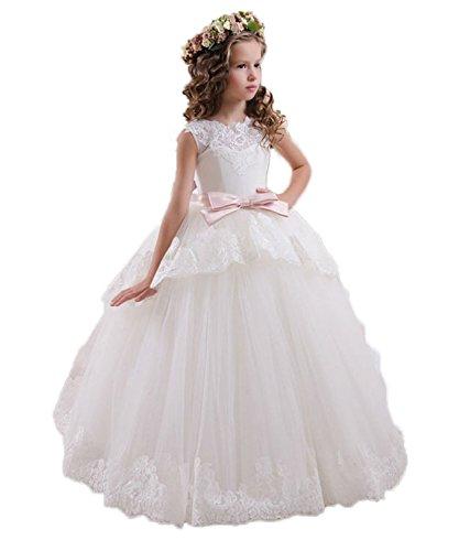 KekeHouse® Blumenmädchenkleid A-Linie Tüll Lang Hochzeit Fest Mädchen Kleid mit Schleife Verzierung Kinderkleid Partykleid Kommunionkleid Elfenbein G10 (Mädchen Schuhe Elfenbein)