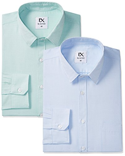 Ex by Excalibur Men's Formal Shirt (8907542815579_273078452_ASSORTED_40_FS) (Pack of 2)