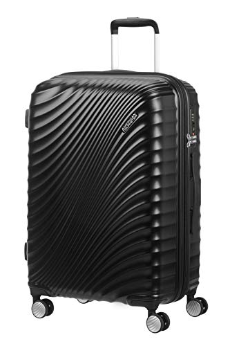 American Tourister Jetglam - Spinner Medium Expandable Valigia, 67 cm, 77.5 liters, Nero (Metallic Black)