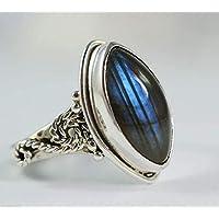Labradorit Silber Ring, blau Feuer Labradorit Silber Ring, 925 Sterling Silber, Silber Ring, handgemachten Schmuck, Größe 14 bis 22 DE