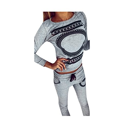 Koly_Moda con scollo a V 1 donne stabilite Activewear Palestra Sport Tops + Pants Outfits (S)