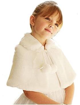 1y-10y blanco marfil Off capa de piel sintética de flor rosa niña para niños primera Comunión