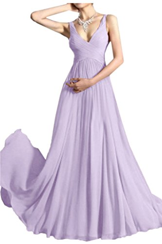 Promgirl House Damen Glamour V-Ausschnitt A-Linie Chiffon Abendkleider Cocktail Ballkleider Lang Lila