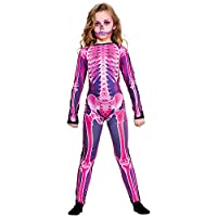 Kids Pink X-Ray Skinz Skeleton Print Halloween Fancy Dress Costume