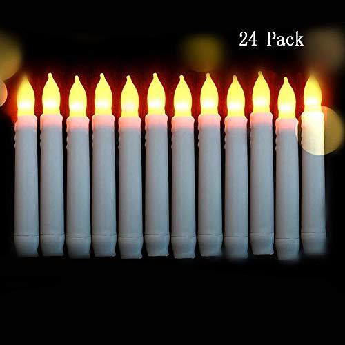HUOXU Flammenlose LED Taper Candle Lights, 24PCS flackernde Birne, Kerzen für Party, Klassenzimmer, Hochzeit, Weihnachtsschmuck - Warmweiß