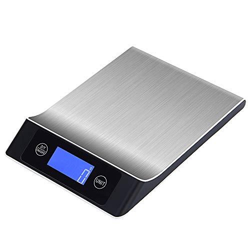 Bilancia digitale da cucina multifunzione food scale bilancia elettronica in acciaio inox, impermeabile, facile da pulire, ampio display da forno da cucina per cucinare 5kg/11lb