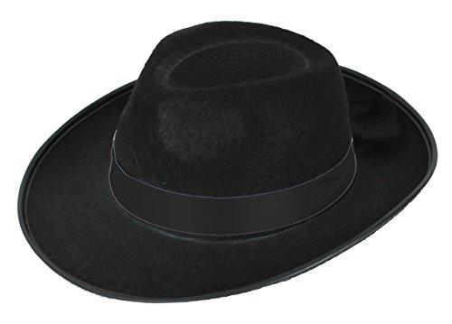 ILOVEFANCYDRESS Gangster HÜTE in Verschiedenen AUSFÜHRUNGEN und in der GRÖSSE 58cm und der GRÖSSE 60cm ===Schwarzer Hut mit Schwarzer BEFESTIGTEN Schleife mit Dem Durchmesser von 60cm