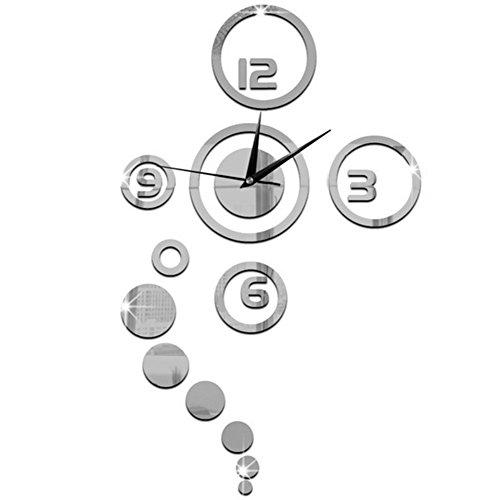 OUTEYE Creativo Reloj de Pared Efecto de Espejo Adhesivo Vinilo Decoración para pared salon habitacion dormitorio oficina estudio