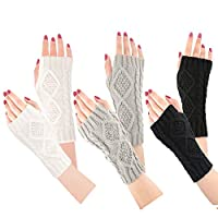 Bearbro Women Arm Warmers Gloves,3 Pairs Arm Warmers Fingerless Thermal Gloves Wrist Gloves Winter Warm Fashion Mitten Knit Crochet, Christmas Gift Ladies