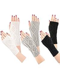 Bearbro Damen Winter Halb Handschuhe,3 Paar Wärmer Strick Kurzer Gestrickte Fingerlose Armstulpen Fäustlinge