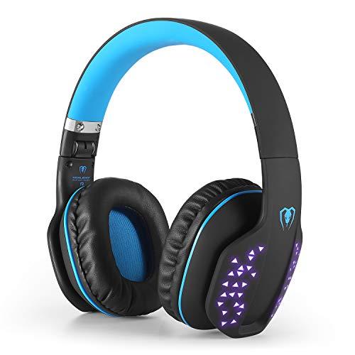 Bluetooth Gaming Headset Kopfhörer mit Mic, Q2 3.5mm Surround Sound LED Licht Over-Ear-Kopfhörer für PSP PS4 PC Xbox One Laptop Tablet Mobile Phones(Schwarz & Blau)