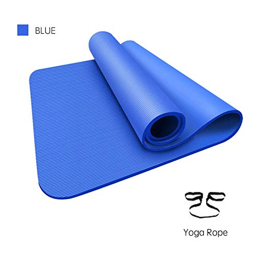 1850x800x15mm Extragroße Yogamatte mit hohem Rückprall und rutschfestem Pilates-Pad mit Yogagurt, perfekt für Anfänger in Blau