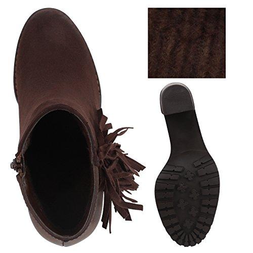 Damen Stiefeletten Fransen Ankle Boots Profilsohle Dunkelbraun