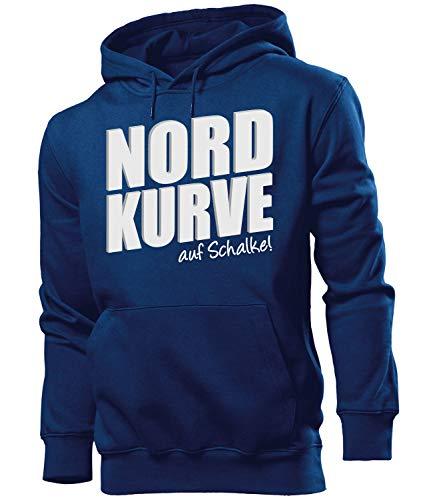 Nordkurve auf Schalke 6355 Fussball Kapuzen Pullover Pulli Fan Artikel Oberteil Geburtstags Geschenk Partner Trikot Look Männer Herren Hoodie Navy S
