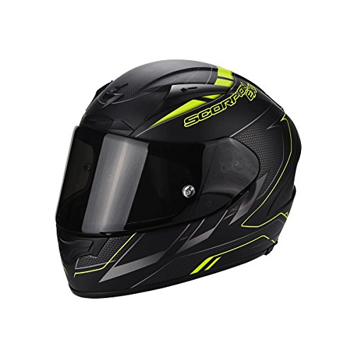 Scorpion Casco Moto EXO-2000 EVO AIR Cup, Black/Chameleon/Fluo Yellow, M - Evo Air